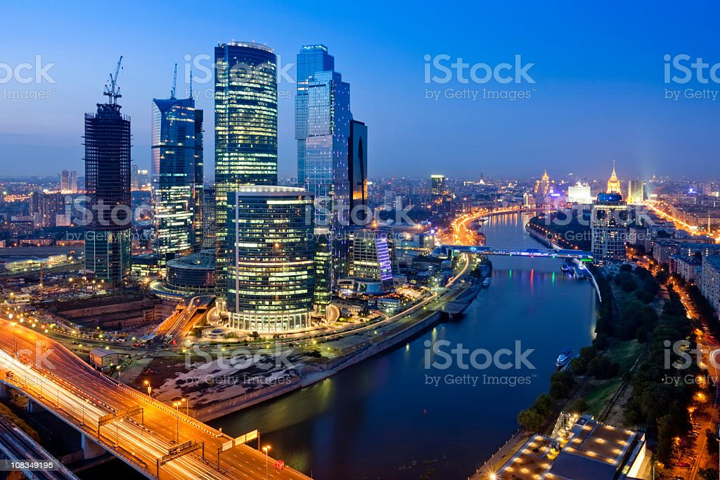 Modern skyscrapers at night. Moscow City. Russia stock photo