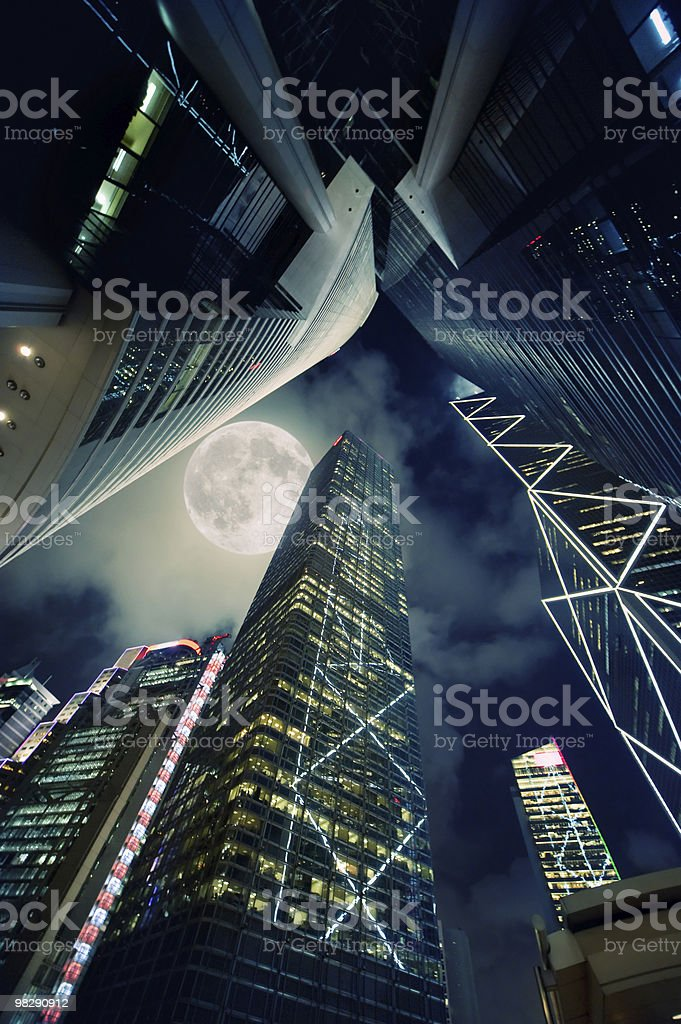 Modern skyscrapers at night time royalty-free stock photo
