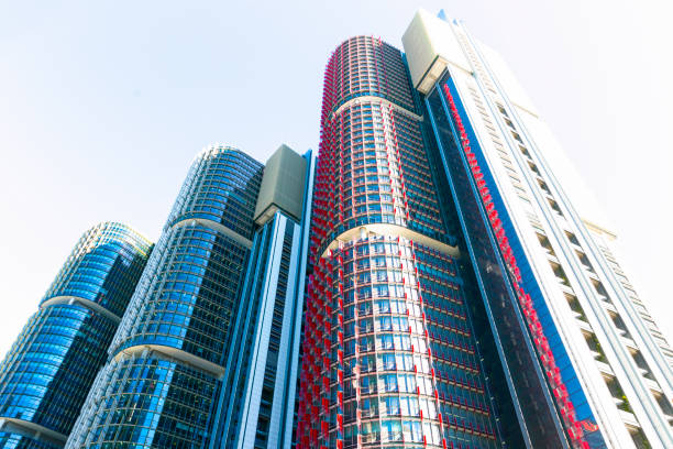modern skyscrapers, barangaroo, sydney australia, background with copy space - barangaroo stock photos and pictures