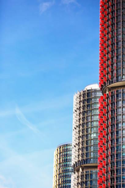 modern skyscrapers, barangaroo, sydney australia, sky background with copy space - barangaroo stock photos and pictures