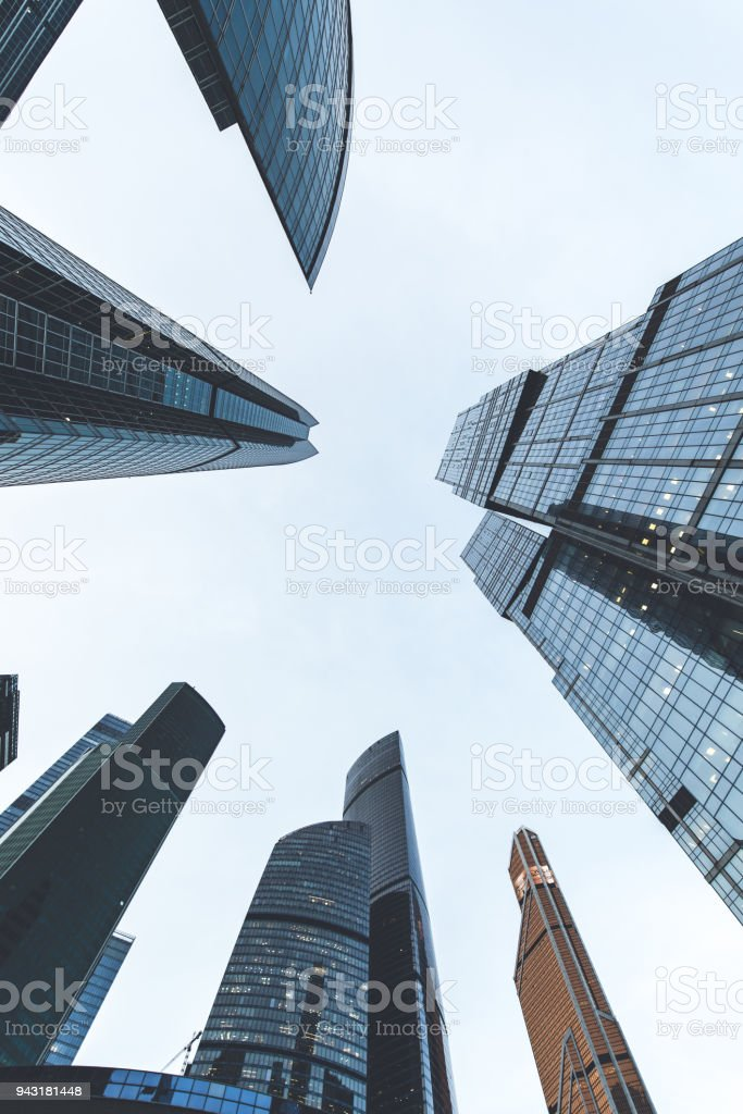 Modern skyscrapers in a business district. High rise buildings of Moscow business center Moscow - city stock photo