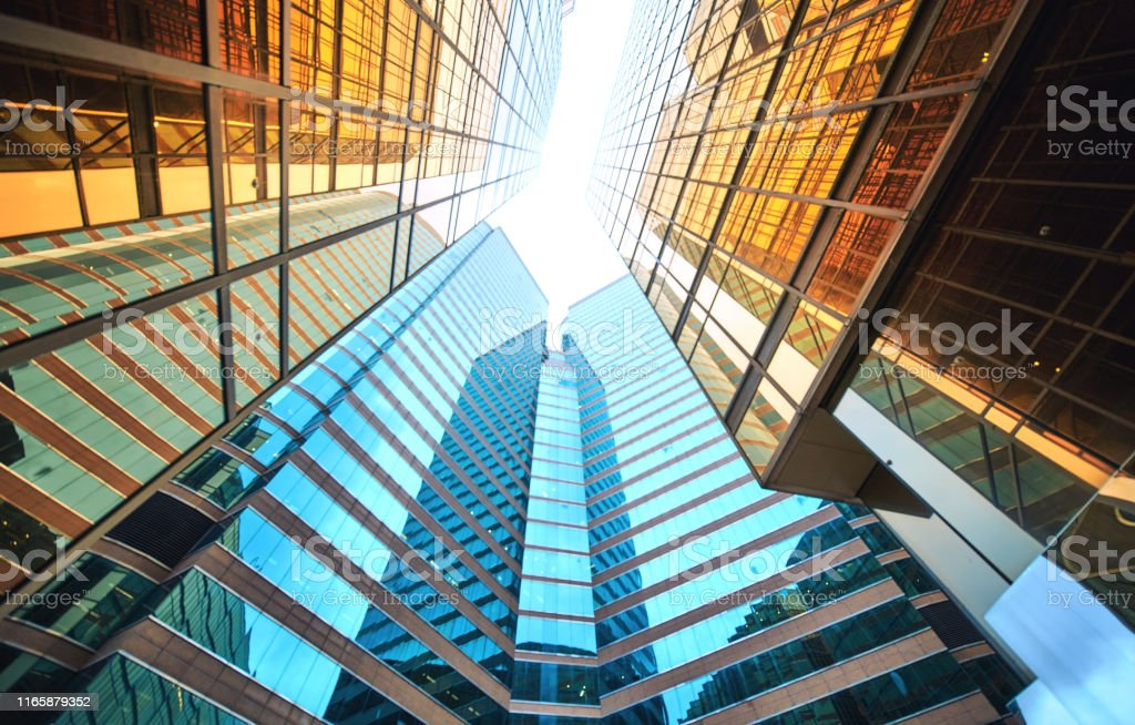 Modern skyscrapers in business district - Royalty-free Abstrato Foto de stock