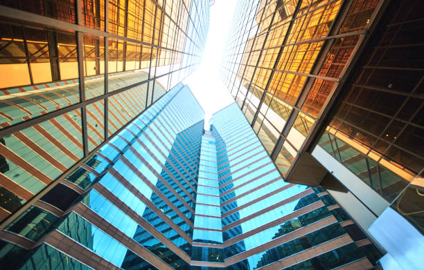 Modern skyscrapers in business district Architecture details Modern Building Glass facade Exterior skyscraper stock pictures, royalty-free photos & images