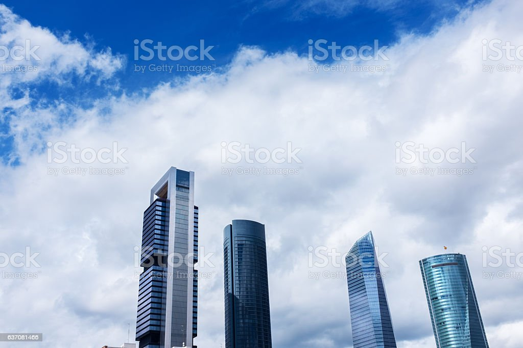 Modern skyscrapers in Castellana in Madrid