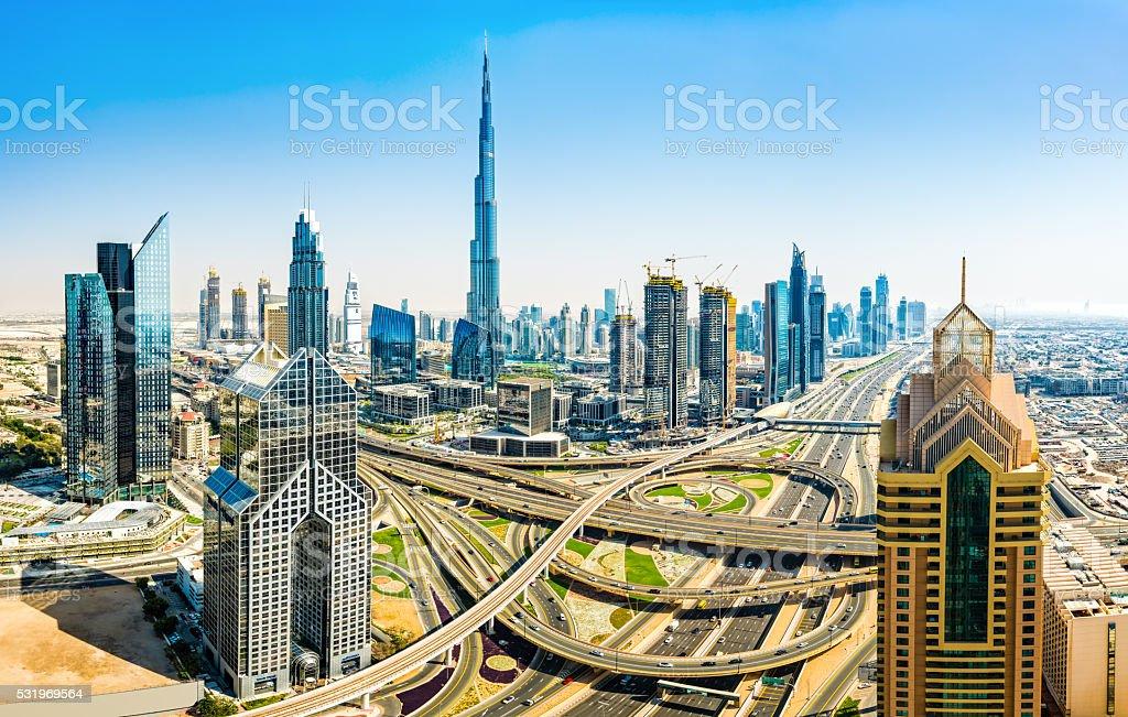 Modern skyscrapers in Downtown Dubai, Dubai, United Arab Emirate stock photo