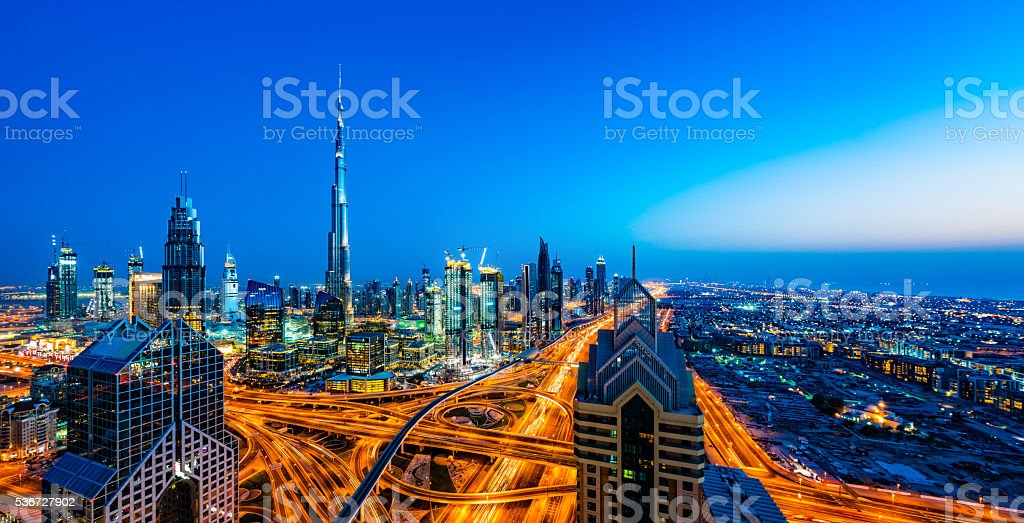 Modern skyscrapers in Downtown Dubai, Dubai, United Arab Emirates stock photo