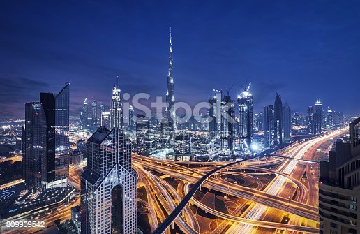 Fantastic nighttime skyline of a big city with illuminated skyscrapers