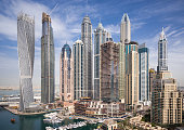 Elevated view of crowded skyscrapers in Dubai Marina.