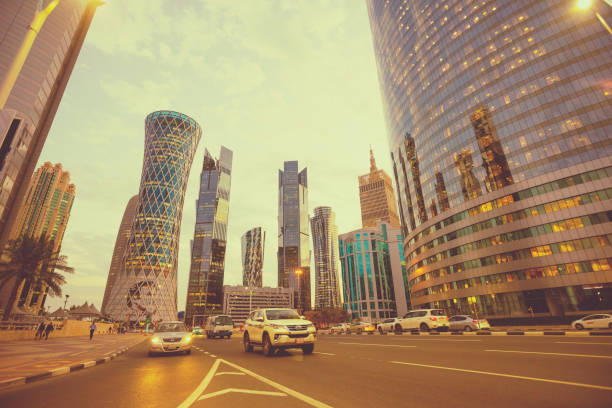 Modern skyscrapers in financial district at twilight in Doha, Qatar stock photo
