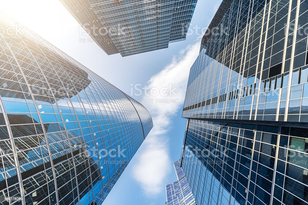 Modern Skyscrapers in Moscow International Business Center stock photo