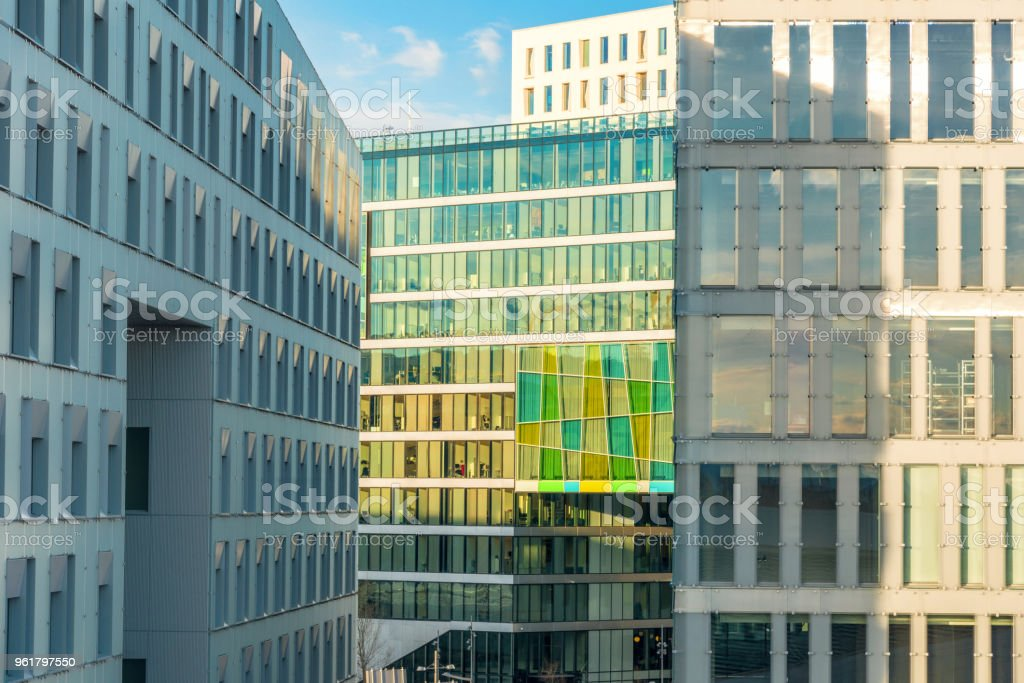 modern skyscrapers in Oslo, Norway - business area stock photo
