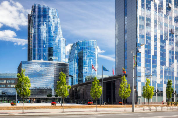 Modern skyscrapers in the center of Vilnius, Lithuania stock photo