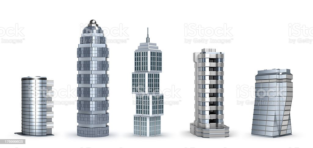 Modern skyscrapers isolated on white stock photo