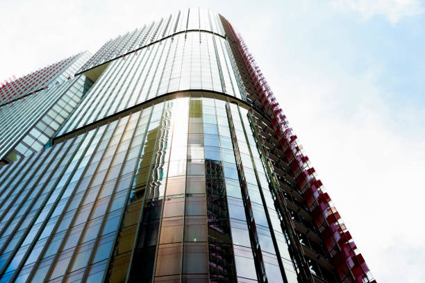 modern skyscrapers, low angle view of office building, copy space - barangaroo stock photos and pictures