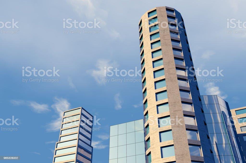 現代摩天大樓, 商業區辦公大樓 - 免版稅仰視圖庫照片