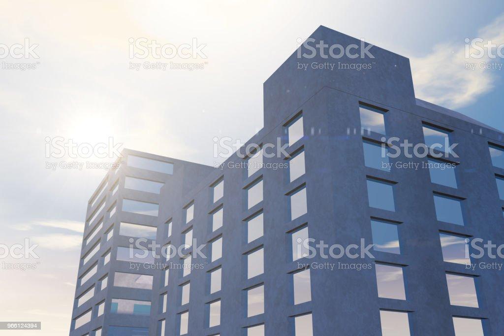 Moderne Hochhäuser, Bürogebäude im Geschäftsviertel mit Sonnenlicht - Lizenzfrei Arbeiten Stock-Foto