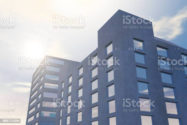 Modern Skyscrapers Office Buildings In Business District With Sunlight — стоковые фотографии и другие картинки Архитектура