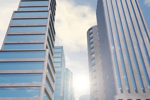 Modern Skyscrapers Office Buildings In Business District With Sunlight Stock Photo - Download Image Now