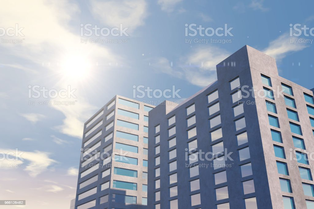 Modern skyscrapers, office buildings in business district with sunlight - Foto stock royalty-free di Acciaio