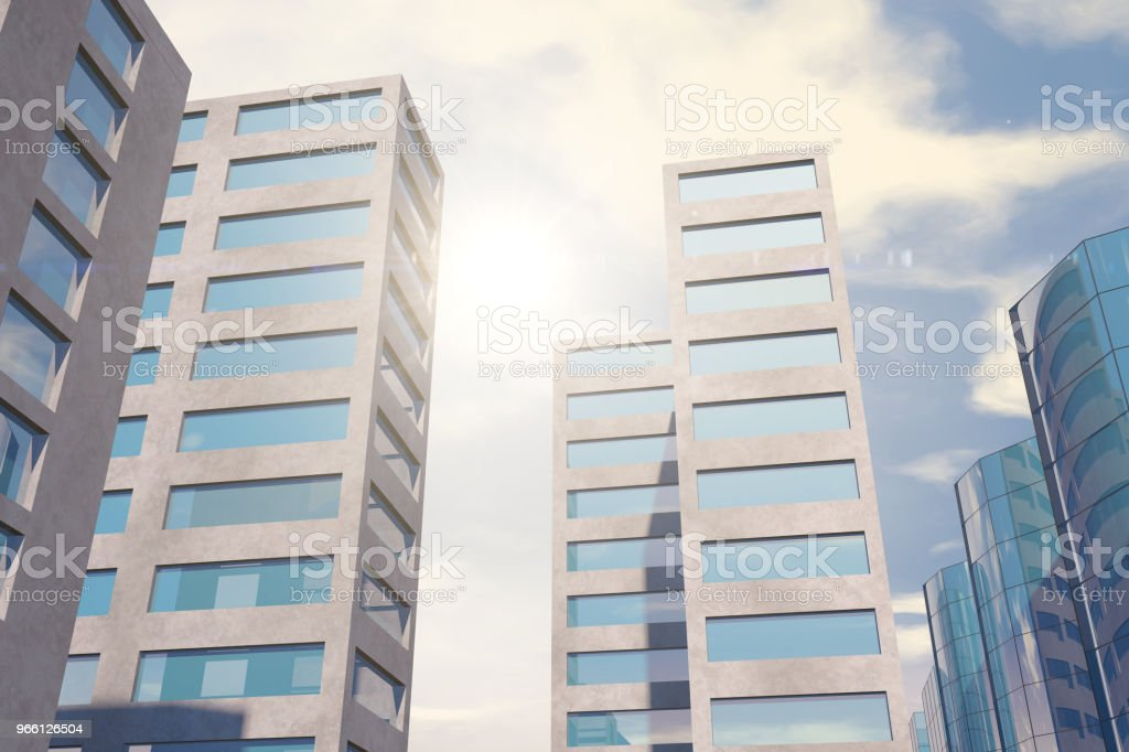 Modern skyscrapers, office buildings in business district with sunlight - Стоковые фото Архитектура роялти-фри