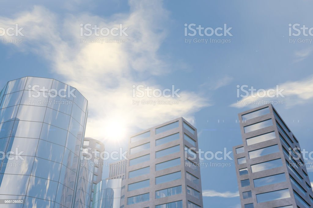 Modern skyscrapers, office buildings in business district with sunlight - Royalty-free Architecture Stock Photo