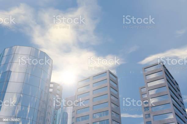 Moderne Hochhäuser Bürogebäude Im Geschäftsviertel Mit Sonnenlicht Stockfoto und mehr Bilder von Arbeiten
