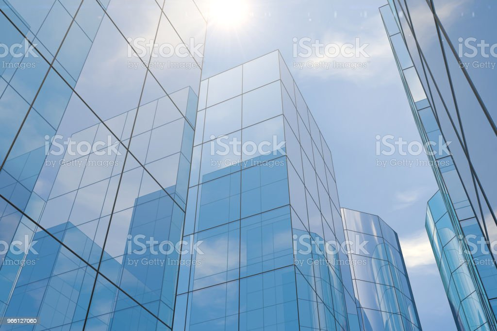 Modern skyscrapers, office buildings in business district with sunlight - Royalty-free Alto - Descrição Física Foto de stock
