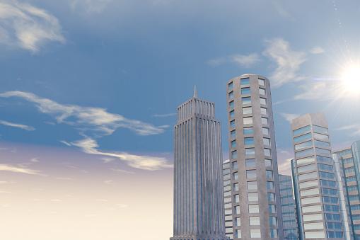 Moderna Skyskrapor Kontorsbyggnader I Affärsdistriktet Med Solljus-foton och fler bilder på Aktiemarknad och börs