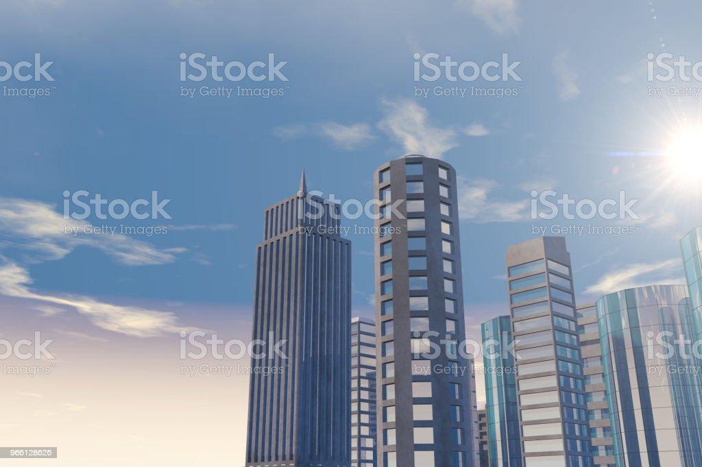 Moderne wolkenkrabbers, kantoorgebouwen in zakelijke district met zonlicht - Royalty-free Architectuur Stockfoto