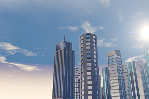 Moderne Wolkenkrabbers Kantoorgebouwen In Zakelijke District Met Zonlicht Stockfoto en meer beelden van Architectuur
