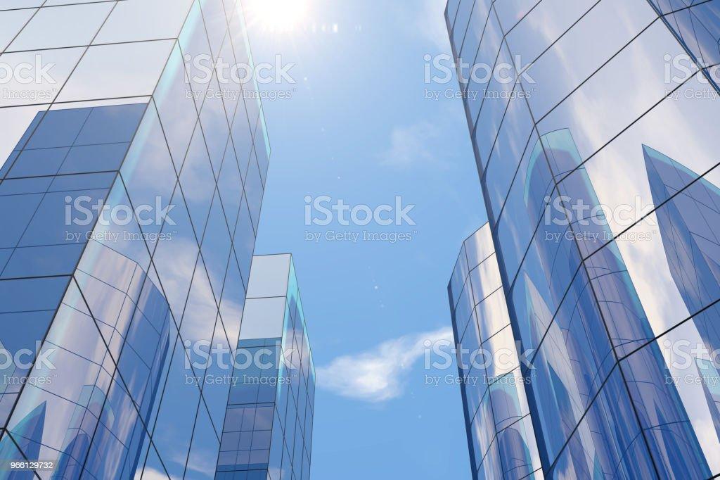 Grattacieli moderni, edifici per uffici nel quartiere degli affari con luce solare - Foto stock royalty-free di Acciaio