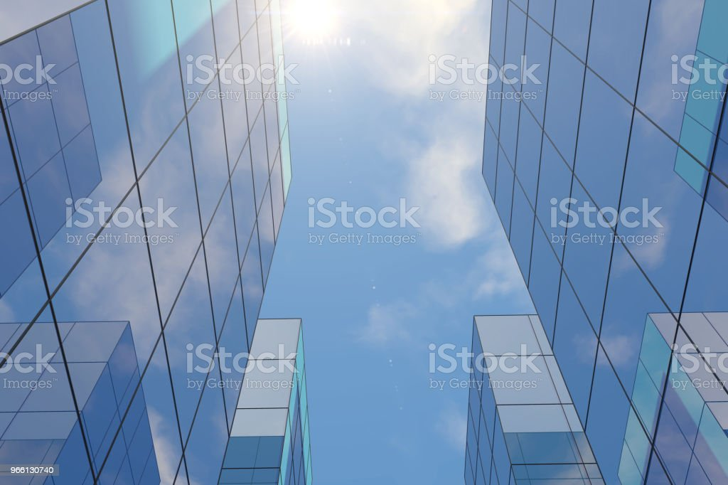 Modernos rascacielos, edificios de oficinas en Distrito negocio con luz del sol - Foto de stock de Acero libre de derechos