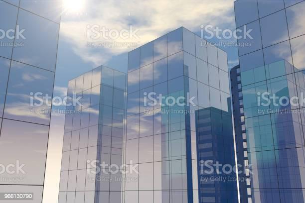 Grattacieli Moderni Edifici Per Uffici Nel Quartiere Degli Affari Con Luce Solare - Fotografie stock e altre immagini di Acciaio