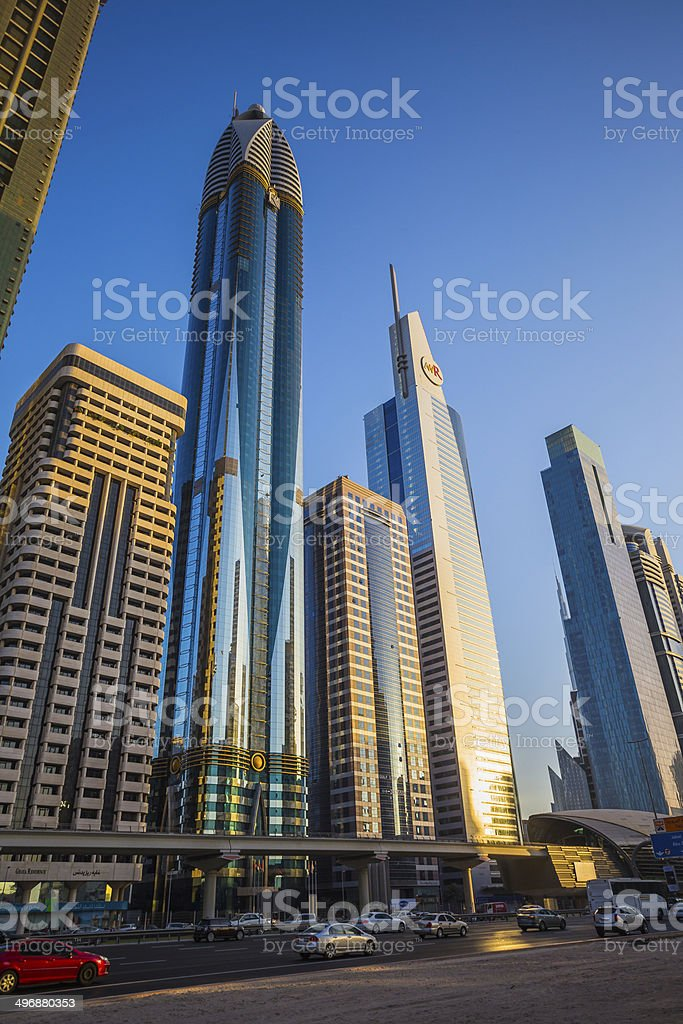Modern skyscrapers, Sheikh zayed road stock photo