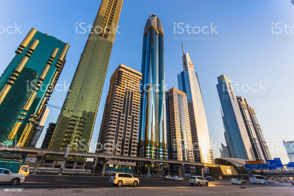 Modern skyscrapers, Sheikh zayed road stock photo