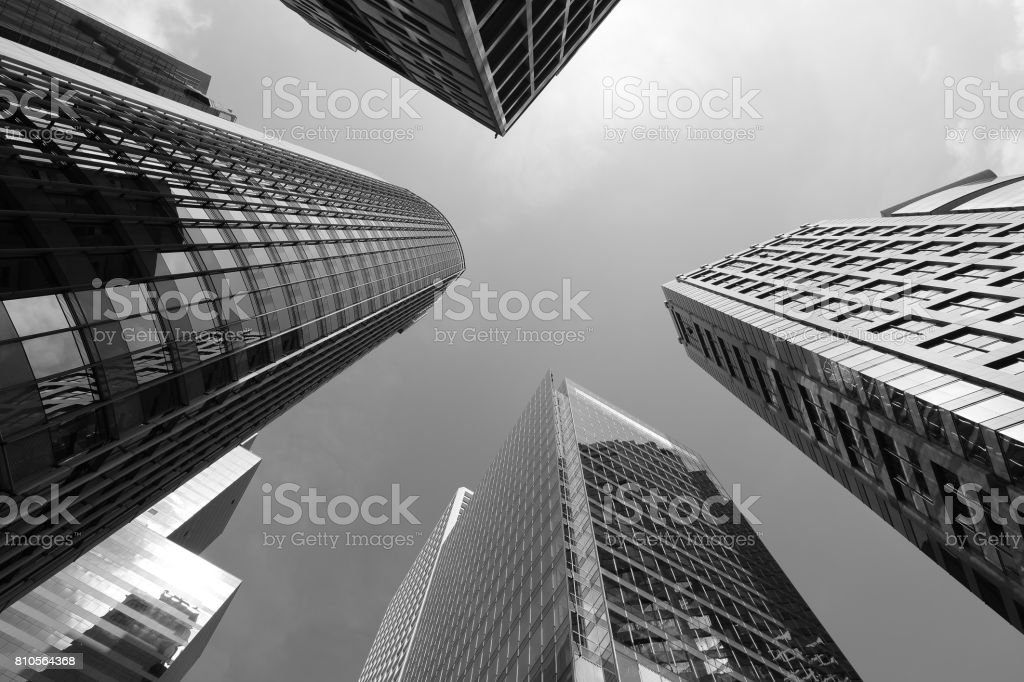 Modern skyscrapers shot with perspective (Black and white) stock photo