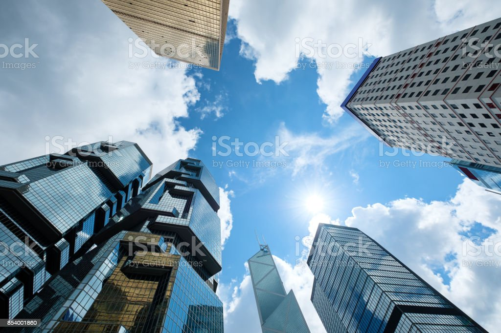 Modern skyscrapers shot with perspective stock photo