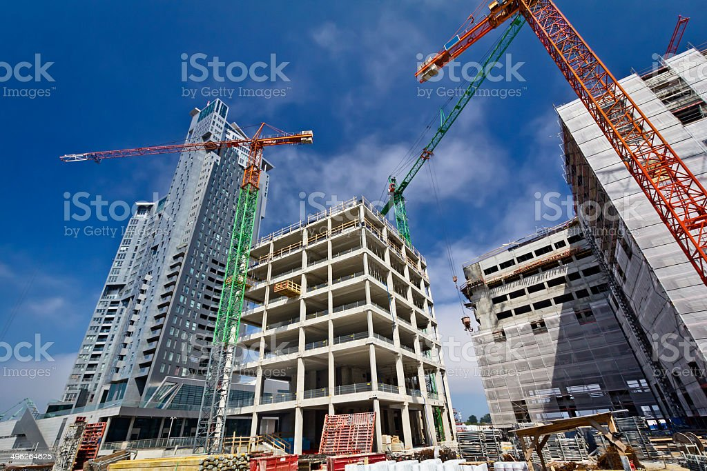 Modern skyscrapers under construction stock photo