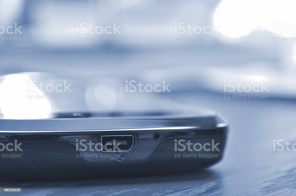 Modern slim mobile phone on the desk. XL size. royalty-free stock photo