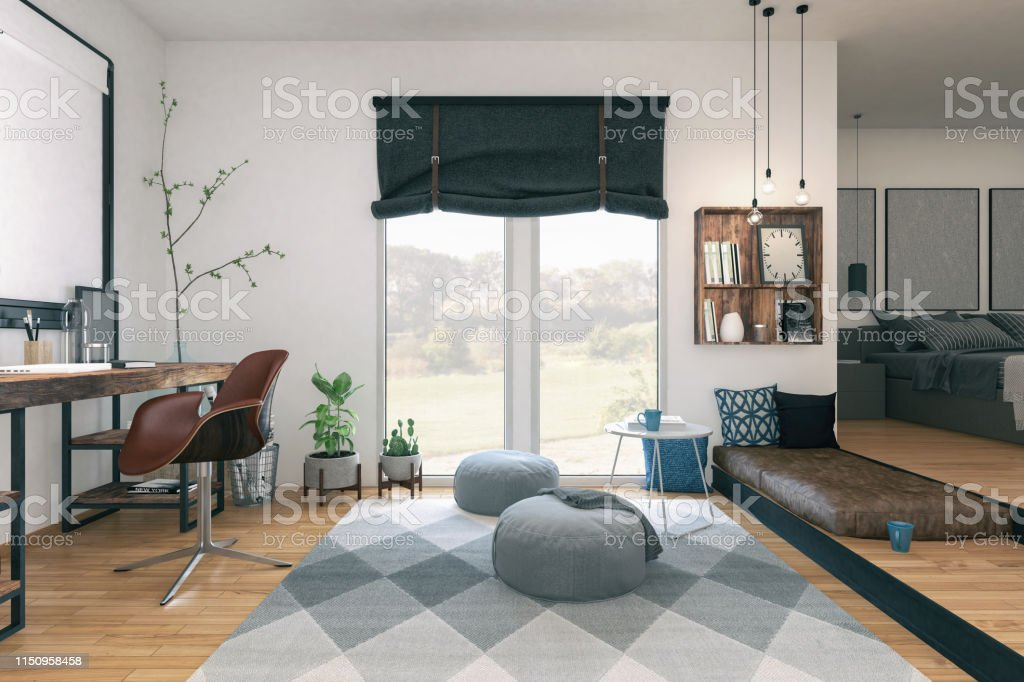 Picture of apartment interior design. Render image.
