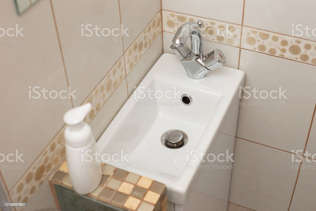 Modern Small White Sink In The Small Bathroom Stock Photo Download Image Now Istock