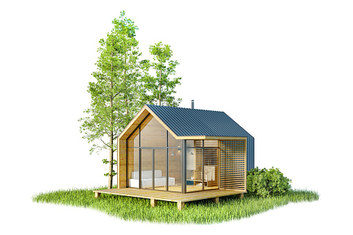 Modern small wooden house in the Scandinavian style barnhouse, with a metal roof and large Windows on an island of greenery with trees. On a white background, isolated, 3D illustration
