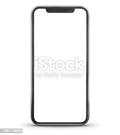 Black Smart Phone Front View Isolated on White