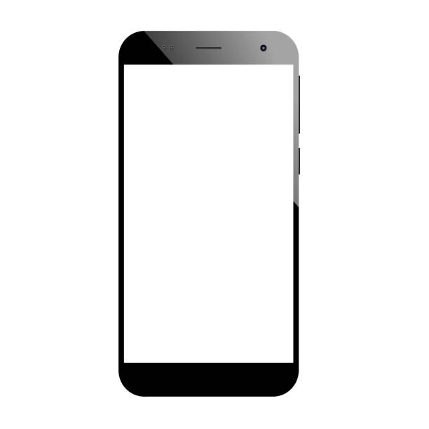 Modern Smartphone in black color with blank screen Modern Smartphone with thin frames in black color with blank screen, mockup - Simple way to put a picture or screenshot blank screen stock pictures, royalty-free photos & images