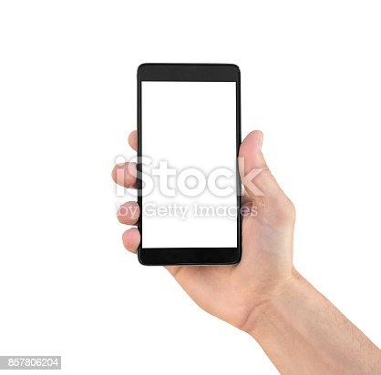 936543982istockphoto Modern smartphone in hand isolated 857806204