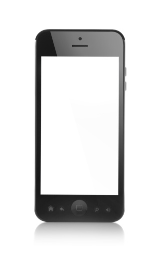 generic black smartphone with copyspace on white background