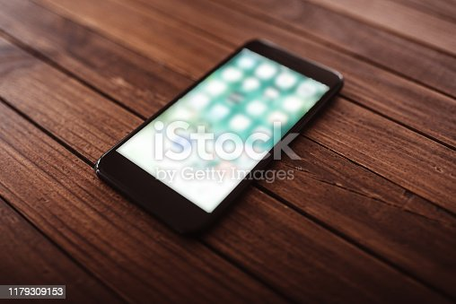 modern smartphone standing on the table