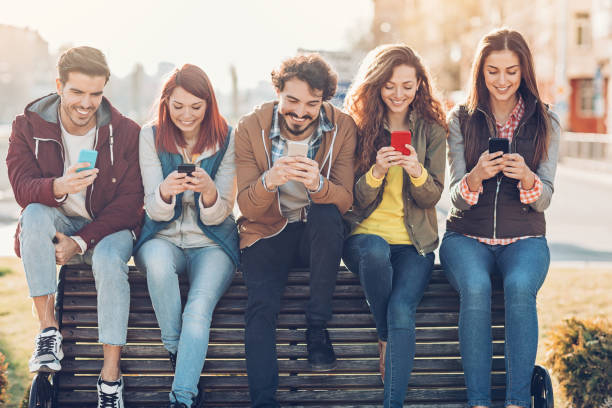 modern social networking - topics stock photos and pictures