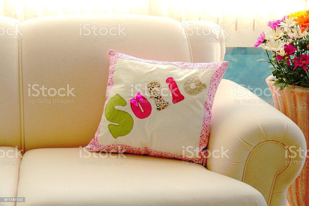 Modern sofa and cushion. stock photo