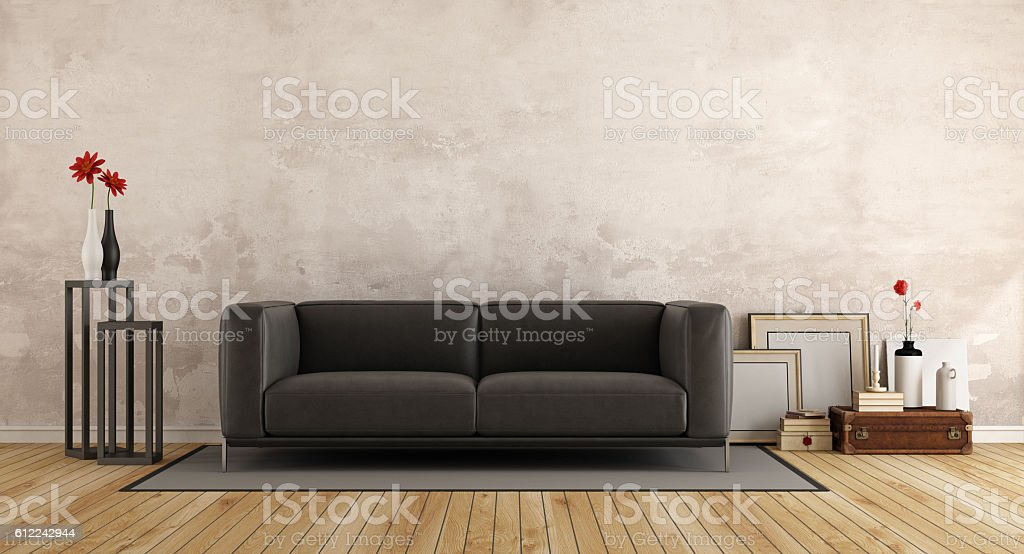 Modern sofa in a old room stock photo